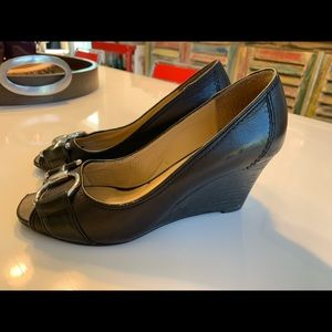 Ladies Nine West Leather Wedges with Buckle detail